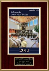 El Portal Sedona Hotel Conde Nast Readers Choice Award 2013